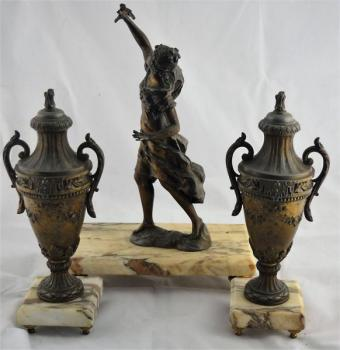 Group of Sculptures - patinated metal, marble - 1910